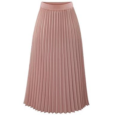 1e1cc1783f124 Heheja Damen Hohe Taille Chiffon Rock Freizeit Elegant Plissee Röcke