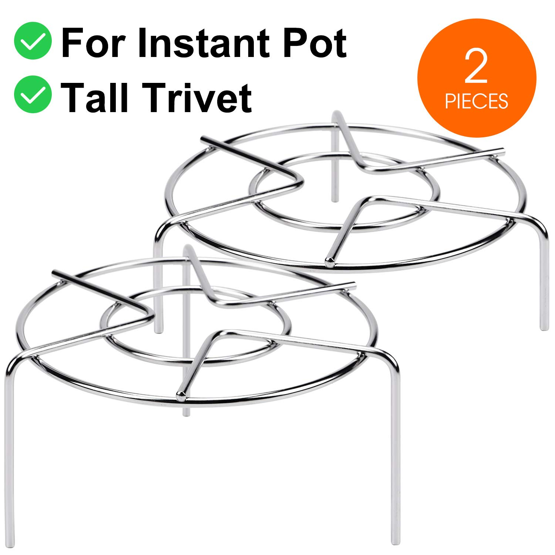 3 7/8'' & 2 1/4'' Tall Steam Rack Stand, HULISEN Heavy Duty Stainless Steel Multifunction Basket, Pressure Cooker Rack (Tall Trivet)