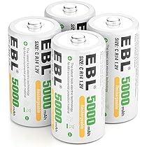EBL 5000mAh de Ni-MH Recargables Pilas C para los Equipos Domésticos con Estuches de Almacenamiento (4 Unidades): Amazon.es: Electrónica