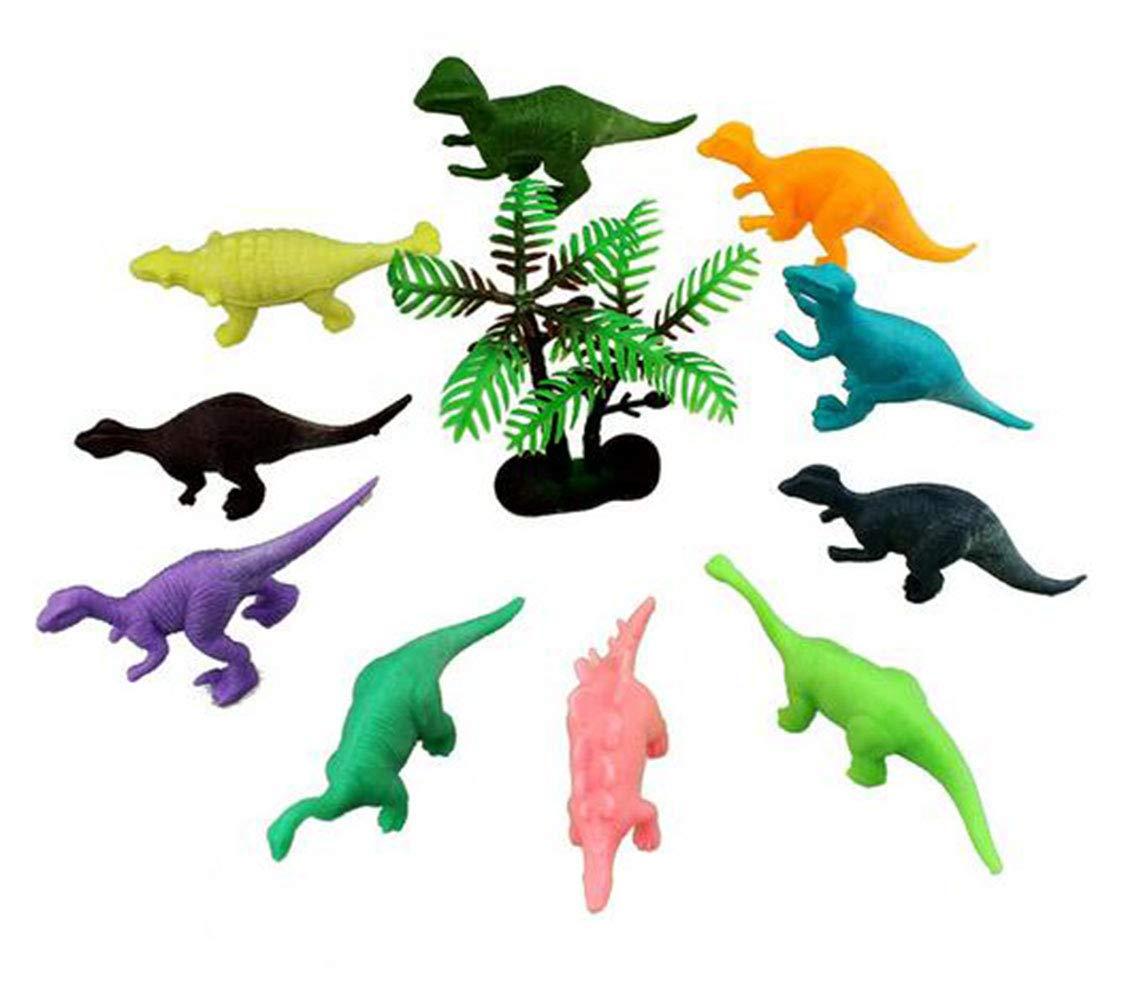 YOYOSTORE 12Pc 6cm Mini Plastic Dinosaur Figures Toy Eggs Trees Rockery Set