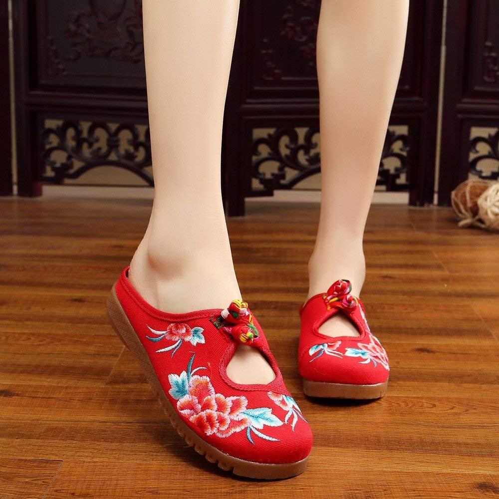 Willsego Bestickte Schuhe, Sehnensohle, ethnischer Stil, weiblicher Flip Flop, Mode, Bequeme, lässige Sandalen, rot, 36 (Farbe : -, Größe : -)