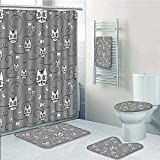Curtains with Fish on Them aolankaili 5-Piece Bathroom Set-Includes Shower Curtain Liner, Style Cats Birds Fishes Design Silhouette Grey and WhitePrint Bathroom Rugs Shower Curtain/Bath Towls Sets(Large Size)
