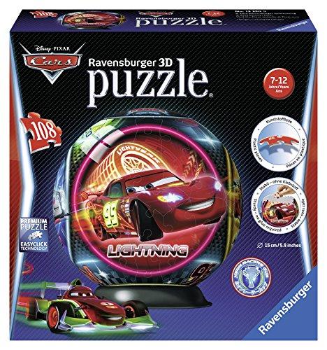Ravensburger 12250 - Disney Cars Neon, 108 Teile 3D Puzzle-Ball