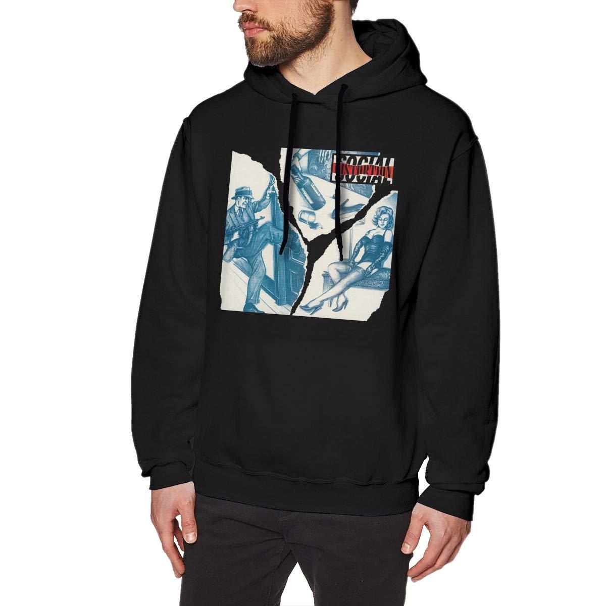 HorseTe Men Sweatshirts Suitable Social Distortion Poster Mens Sweater Black
