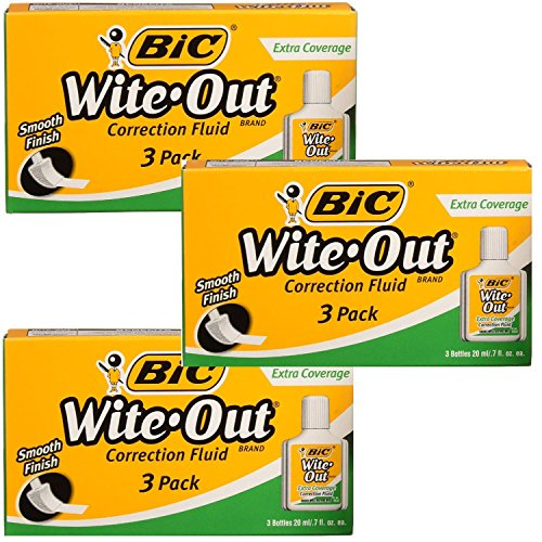 BIC Wite-Out Brand Extra Coverage Correction Fluid, 20 ml 3 pack total of 9