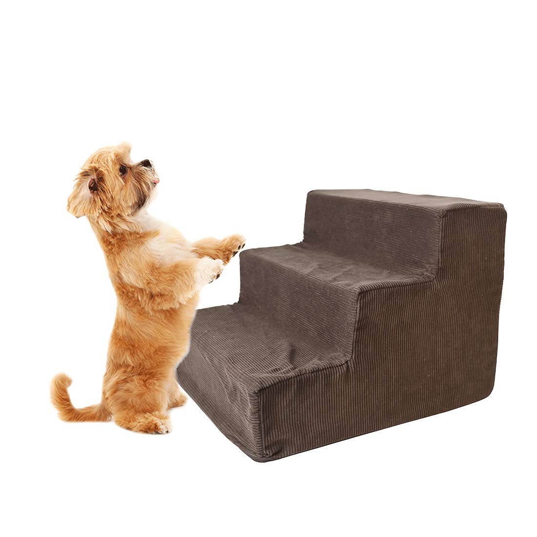 Enerhu Pet Steps with Washable Cover Soft Foam Dog/Cat Strairs Non-Slip Bottom Puppy Ladders