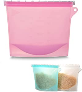 1 Pack Reusable Silicone Bag for Food Storage Premium Snack and Sandwich Bag(Stand Up), BPA Free Food Grade Silicone Freezer Saver Bag with High Leakproof Slider (Pink)