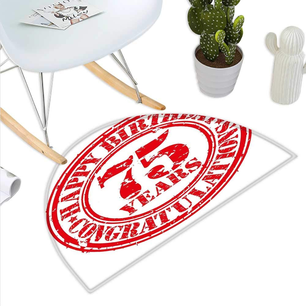 color04 H 31.5  xD 47.2  75th Birthday Semicircle Doormat Old Age Seventy Five Years Old Party Invite in Retro Style Greeting Theme Halfmoon doormats H 27.5  xD 41.3  Multicolor
