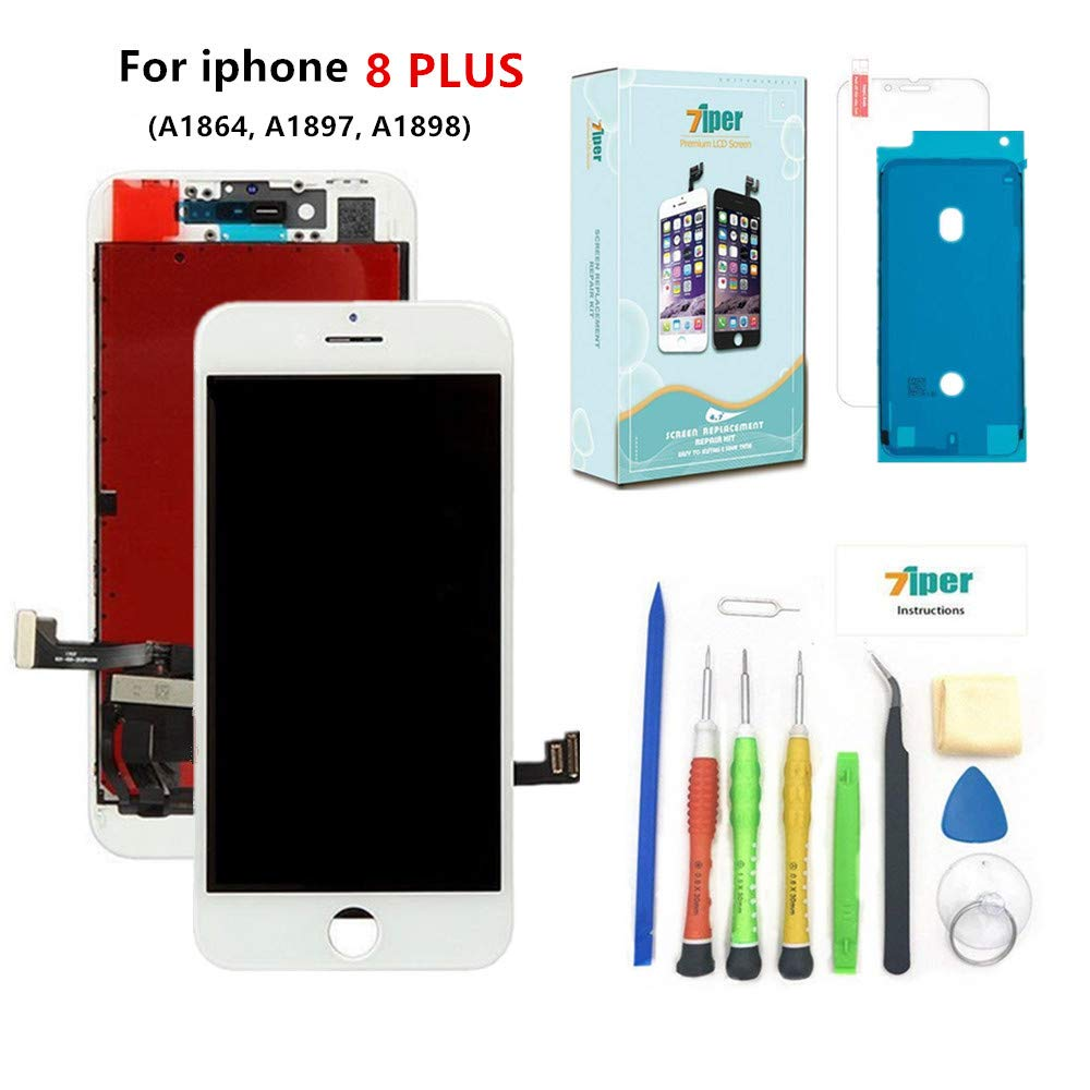 Screen Replacement for iPhone 8 Plus (5.5 inch) -3D Touch LCD Screen Digitizer Replacement Display Assembly with Waterproof Adhesive, Tempered Glass, Tools,Instruction (White) 7iper LCD-8P-white