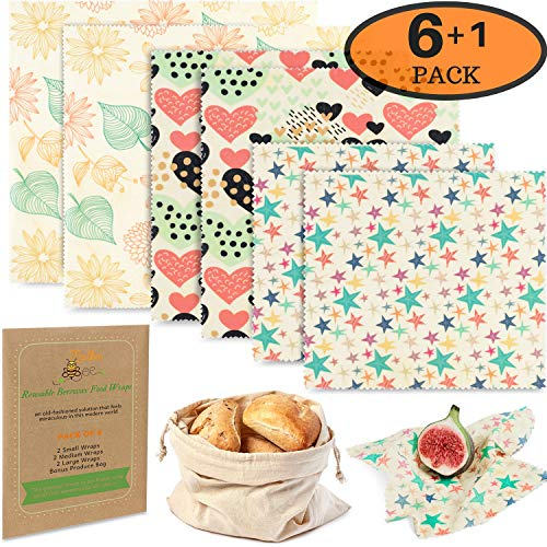 (Reusable Beeswax Food Storage Wraps - 6 Pack - Eco-Friendly Wax Sandwich Wrap and Bowl Cover - Healthy Alternative To Saran Wrap - 2 Large, 2 Medium, 2 Small, 1)
