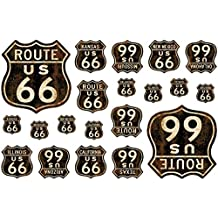 Route 66 Shields Vinyl Sticker Sheet Of 20 Vintage Style