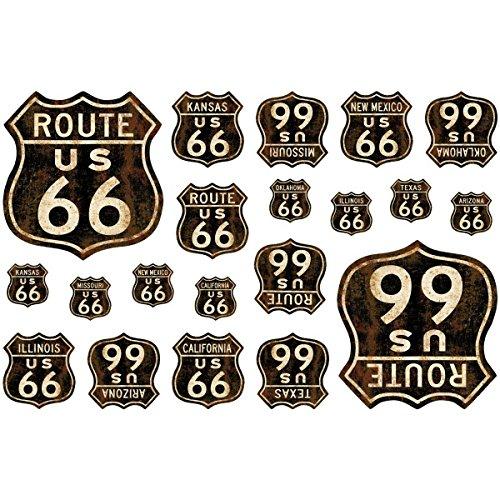 Route 66 Shields Vinyl Sticker Sheet Of 20 Vintage Style