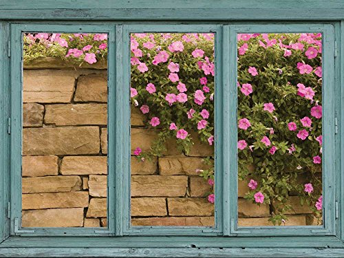 Brick wall with pink and green flowers cascading down the stone face Wall Mural