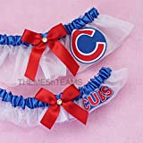 Customizable - Chicago Cubs fabric handmade into bridal prom white organza wedding garter set tnt