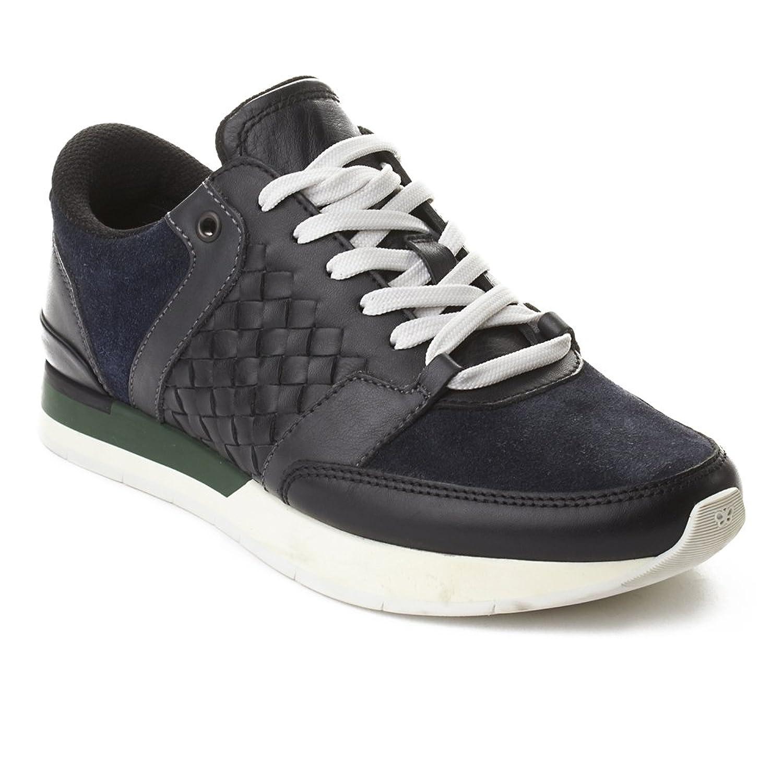 Bottega Veneta Men's Intrecciato Leather Sneaker Trainer Shoes Black Navy Green B07BKPDP6D