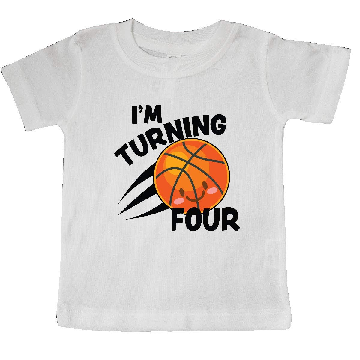 inktastic Im Turning 4 with Basketball Baby T-Shirt