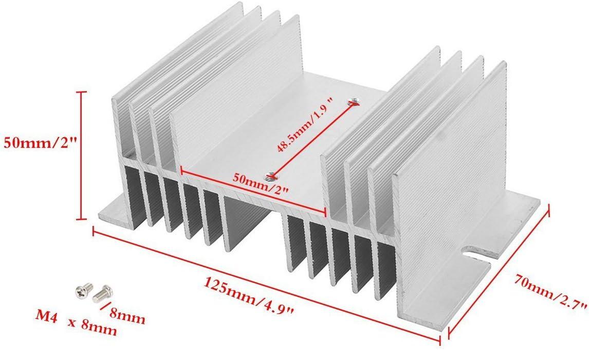 Saim Aluminum Alloy Heat Sink for Solid State Relay SSR Radiator Temprature Control Module 125mm x 50mm x 70mm 1 Pcs