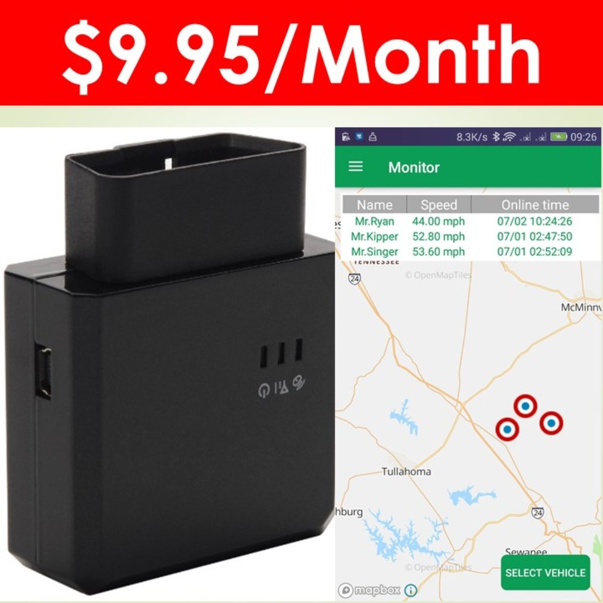 Spectrum SMART: 3G OBD II GPS Tracker for Vehicle, Teen Driver Monitoring, Fleet Tracking Device, GPS Telematics, Car Locator. One Month Free Service