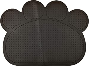 DM Paw-Shaped Silicone Cat Litter Box Mat,Kitty Scatter Control Rug,Pet Food Placemat,Door Mat,Waterproof & Washable,15.75x11.75 Inches