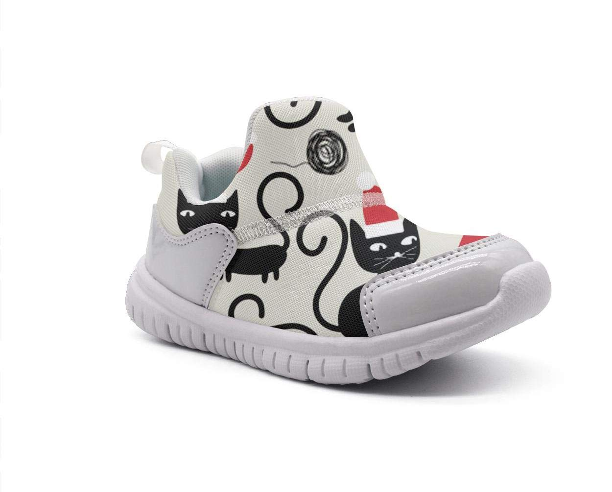 ONEYUAN Children Cats Wearing Santa Hats and Playing with Balls of Yarn Kid Casual Lightweight Sport Shoes Sneakers Running Shoes