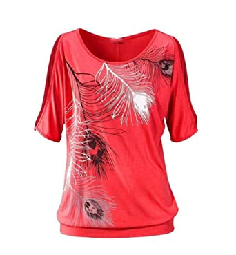 1439cb94b0ee Baymate Damen Oberteile Kurzarm Sommer T-Shirt für Standurlaub mit Feder  Motiv Tops Shirt Rot