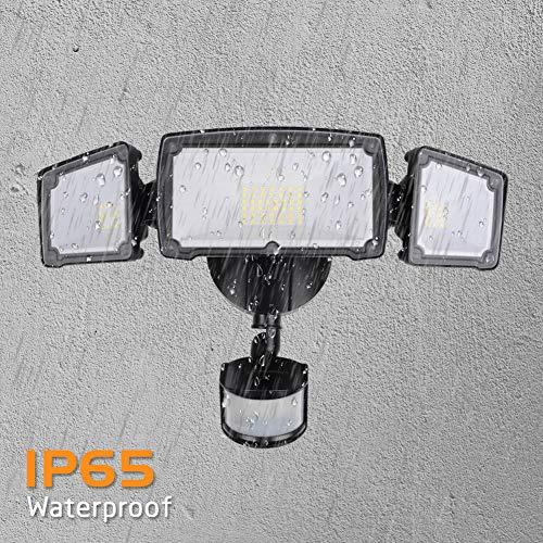 LEPOWER 3500LM LED Security Light, 39W Super Bright Outdoor Motion Sensor Light, 6000K, IP65 Waterproof, 3 Adjustable Heads & ETL Certified Motion Activated Flood Light for Entryways, Yard
