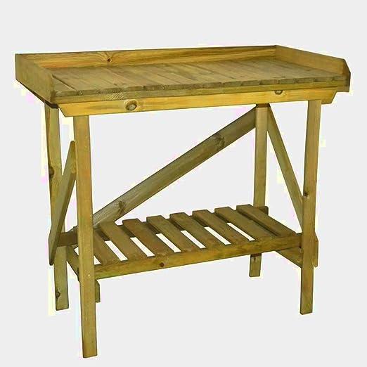 Jardinería invernadero jardín de madera al aire libre mesa planta con almacenamiento accesorios & E libro: Amazon.es: Jardín