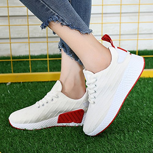 Buganda Womens Lace Up Athletic Shoes Fashion Mesh Walking Sneakers Casual Breathable Running Shoes White Km0NYW56po