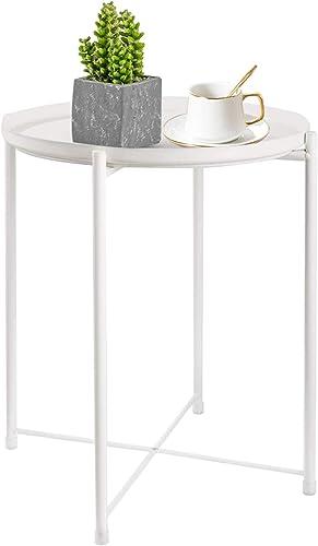 HOMRITAR Nightstands Tray Metal Side Table