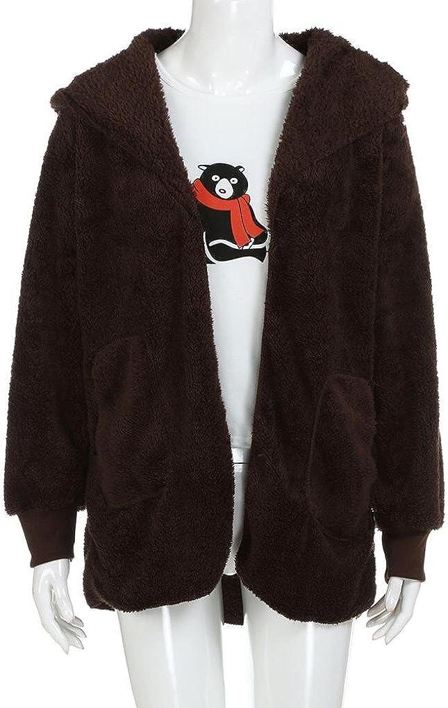 Tsmile Womens Coat Fashion Ladies Solid Color Plush Overcoat Jacket Winter Zipper Gradient Parka Outerwear