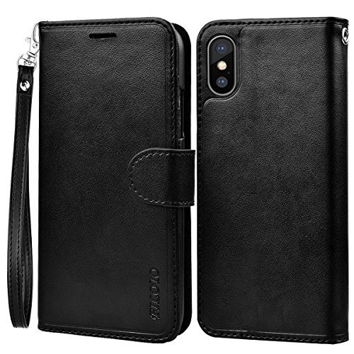 iPhone X Wallet Case, Filoto iPhone X Leather Case Handmade with Card Holder-Kickstand-Magnetic Closure-Wrist-strap Flip Cover for Apple iPhone X/iPhone 10 (10 Wrist Strap Lanyard)