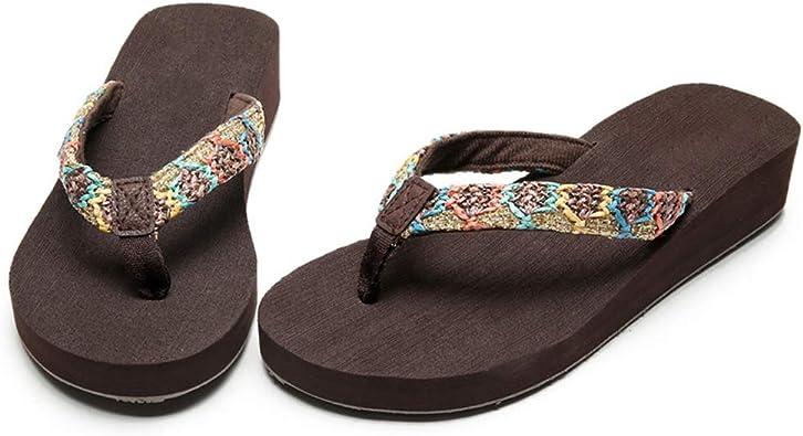 Mujeres Chanclas Estilo Sport del talón de cuña del Dedo del pie del Clip Sandalias de la Plataforma de Las Correas de Las Sandalias de Playa Zapatos de Verano: Amazon.es: Zapatos y