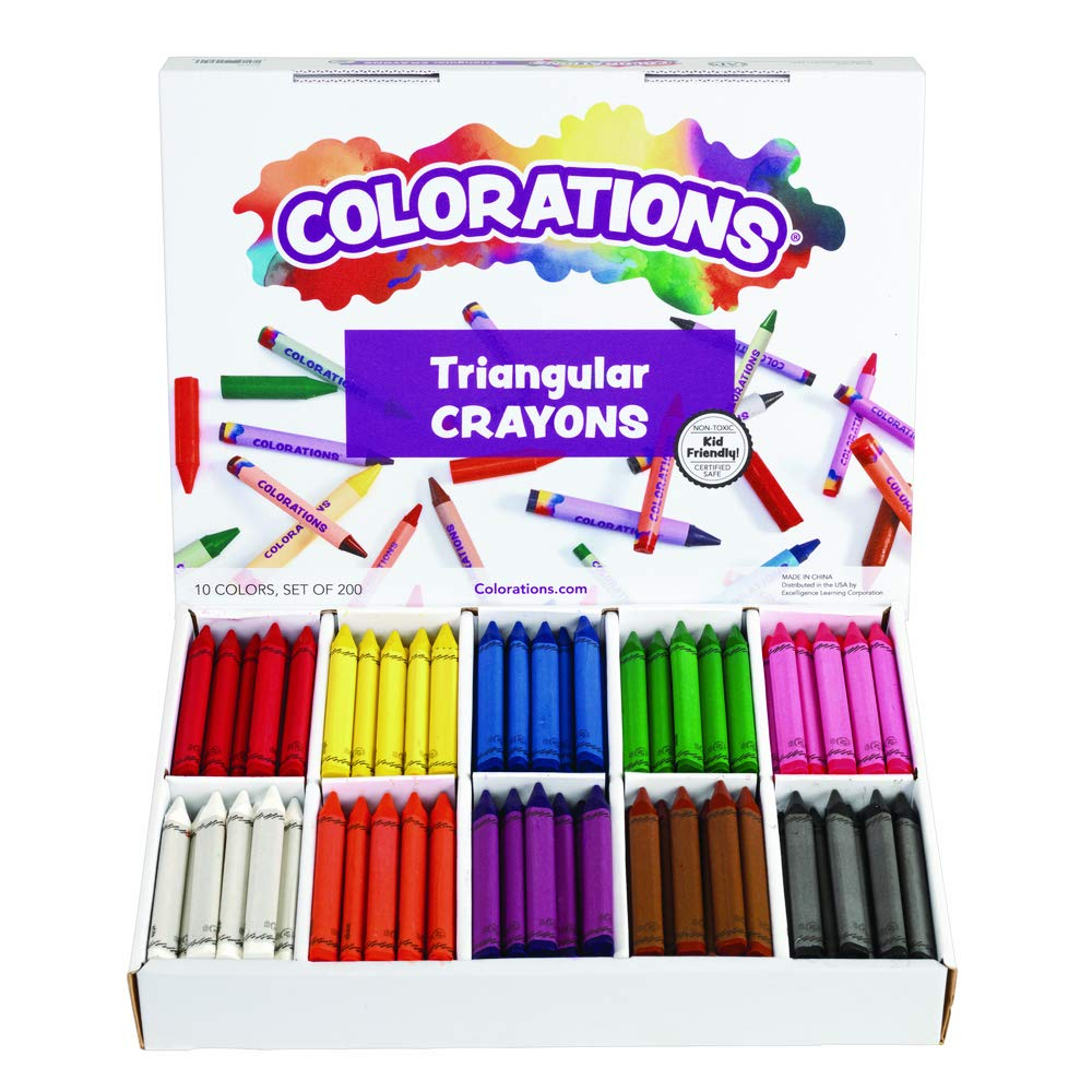 Colorations CLRTRI Large Triangular Crayon Classpack (Pack of 200) by Colorations
