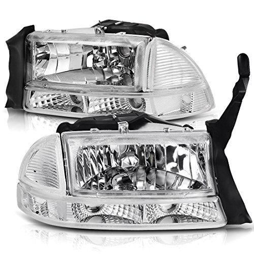For 1997-2004 Dodge Dakota 1998-2003 Dodge Durango Headlight Assembly Headlamp Replacement with Park Signal Lamp Crystal Housing, One-Year Warranty(Driver and Passenger ()