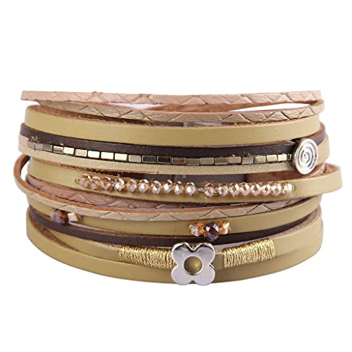 c670ce1d0eb AZORA Womens Leather Wrap Bracelets Lucky Leaf Handwoven Crystal Seeds  String Cuff Bracelet Gorgeous Magnetic Bangle