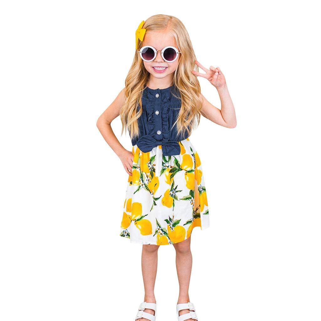 ♔Deadness Toddler Baby Girls Dress Fashion Bow Sleeveless Lemon Peach Printing Splice Denim Dresses