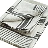 LinenMe Set of 2 Provence Linen Hand Towels, Standard, Black Natural Striped, Prewashed 100% Linen, Made in Europe, Highest Quality, Bath Sheet