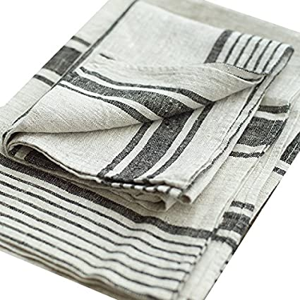 LinenMe Set Of 2 Provence Linen Hand Towels, Standard, Black Natural  Striped, Prewashed