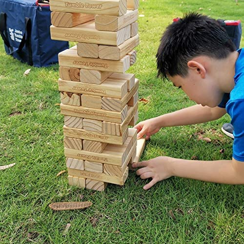 JacMok -Torre De Madera Maciza- Jumbo Tumble Tower- Family Stacking Games Toys (60 Pieces, 7 kg) 60 cm to 110 cm-Torre de Voltaje Gigante: Amazon.es: Juguetes y juegos