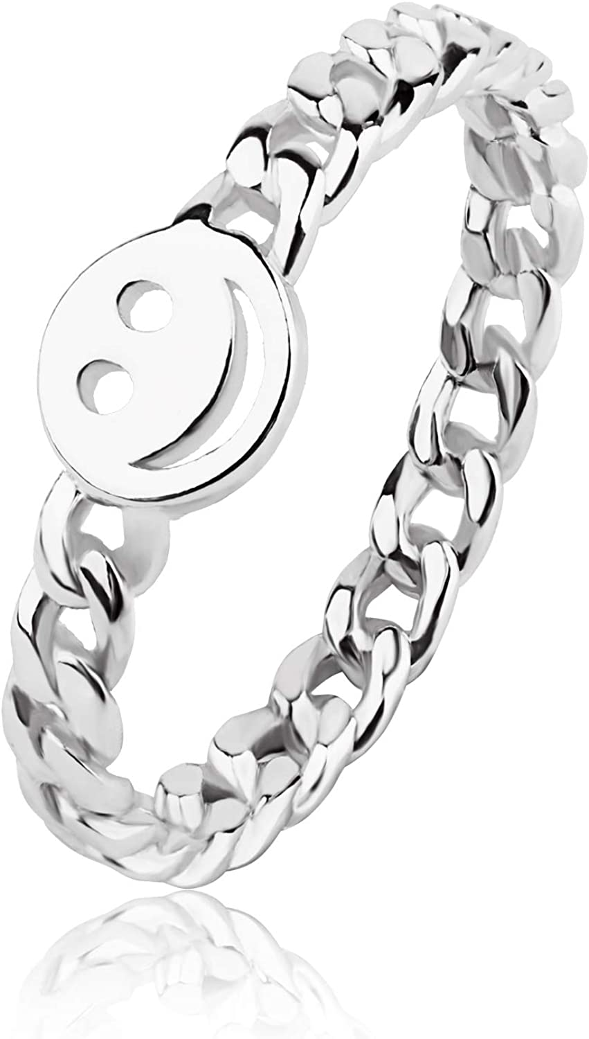 Smile Happy Face Rings Smiley Stainless Steel Adjustable