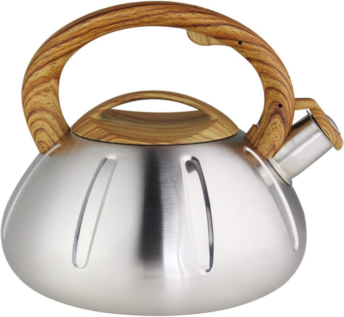 Riwendell Stainless Steel Whistling Tea Kettle 2.6-Quart StoveTop Kettle Teapot GS-04038B-2.5L