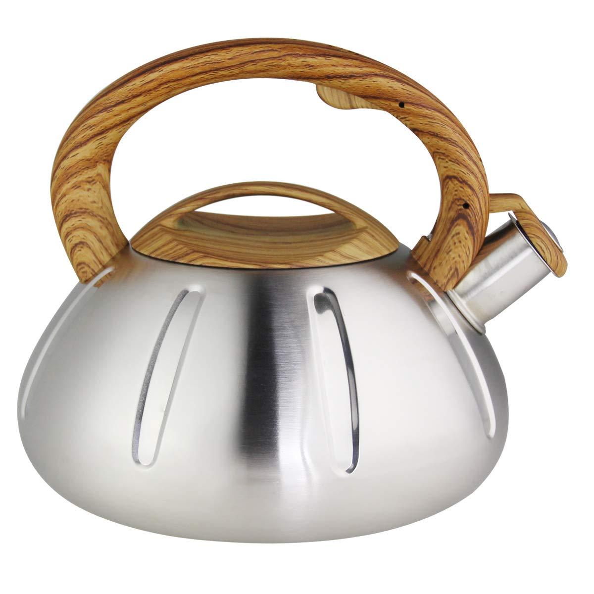 Riwendell Stainless Steel Whistling Tea Kettle 2.6-Quart StoveTop Kettle Teapot (GS-04038B-2.5L)