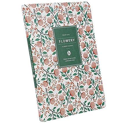 Diario vintage Calepin tuercas agenda mensual semanal Note reunión clase cuaderno littéraire protectora Florale niña mujer, color 02 13*18.5*1.5CM