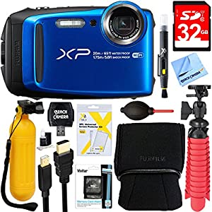 Fujifilm FinePix XP120 Compact Rugged Waterproof Digital Camera (Blue) + 32GB Deluxe Accessory Bundle