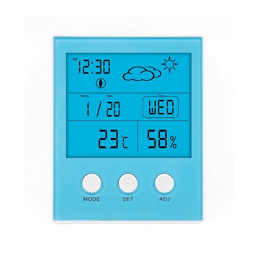 Restbuy Thermometer Hygrometer Digital Humidity Meter Hygrometer Thermometer With Clock, Calendar, Alarm Function For Bedroom, Living Room, Office Blue