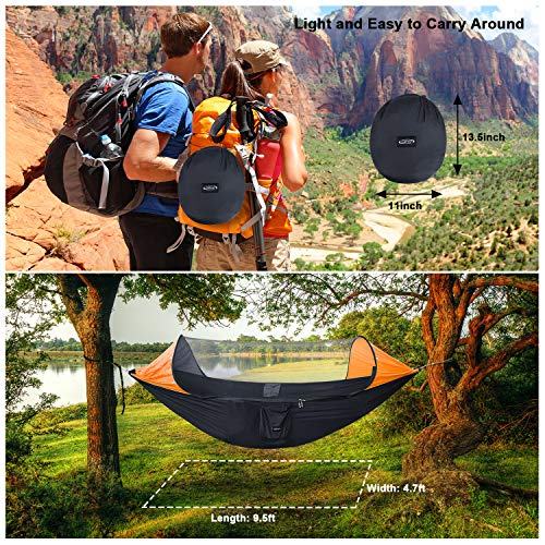 G4free Large Camping Hammock With Mosquito Net Pop Up