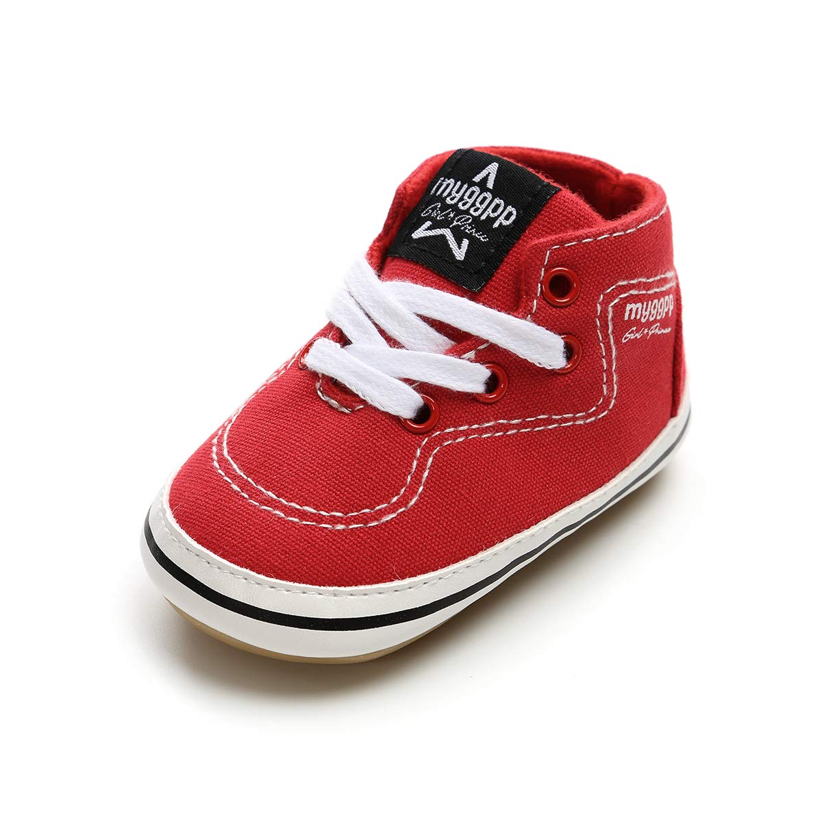 Baby Boys Girls Canvas Shoes Basic Sneakers Lace Up Infant First Walker Shoes(0-18 Months) (13cm(12-18 Months), G-Red)