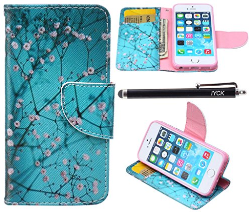 iPhone SE Case, iPhone 5S Case Wallet, iYCK Premium PU Leather Flip Folio Carrying Magnetic Closure Protective Shell Wallet Case Cover for iPhone 5/5S/SE/5SE with Kickstand Stand - Plum Blossom (Iphone 5 Giving Tree Case)