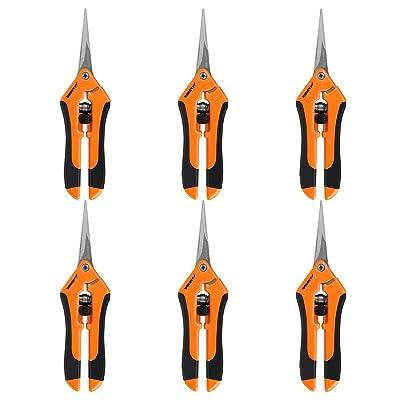 VIVOSUN 6-Pack 6.5 Inch Gardening Hand Pruner Pruning Shear with Straight Stainless Steel Blades Orange : Garden & Outdoor