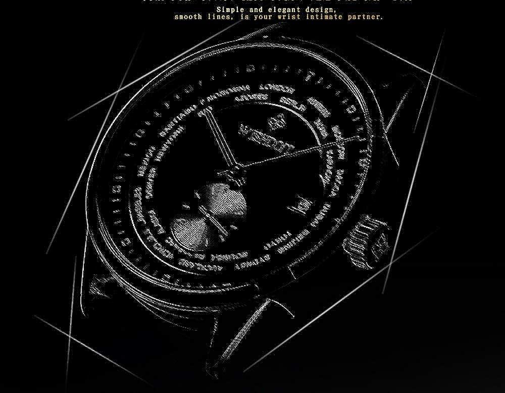 Montres Homme,La Tendance De La Mode De La Montre À Ceinture en Cuir À Motif De Litchi avec Montre Mécanique Automatique pour Hommes Étanche Et De Loisirs D